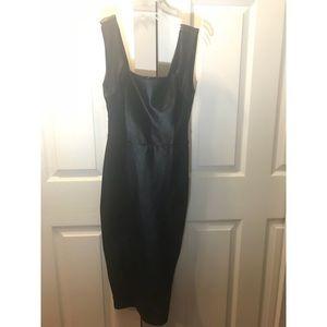 Bodycon midi dress w/leather effect panel